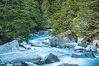 Rob Roy creek in Matukituki Valley, Mount Aspiring National Park, Central Otago, World Heritage Area, New Zealand