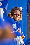 6 March 2019: Toronto Blue Jays top prospect infielder  Vladimir Guerrero Jr. watches from the dugout during a Spring Training game against the Philadelphia Phillies at Dunedin Stadium in Dunedin, Florida. The Blue Jays defeated the Phillies 9-7 in Grapefruit League play. Mandatory Credit: Ed Wolfstein Photo *** RAW (NEF) Image File Available ***