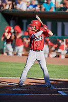 Orlando Martinez (17) of the Orem Owlz bats against the Ogden Raptors at Lindquist Field on June 19, 2018 in Ogden, Utah. The Raptors defeated the Owlz 7-2. (Stephen Smith/Four Seam Images)