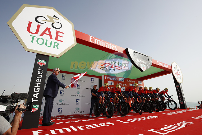 Bahrain-Merida wait on the start ramp of Stage 1 of the 2019 UAE Tour, a team time trial running 16km around Al Hudayriat Island, Abu Dhabi, United Arab Emirates. 24th February 2019.<br /> Picture: LaPresse/BettiniPhoto | Cyclefile<br /> <br /> <br /> All photos usage must carry mandatory copyright credit (© Cyclefile | LaPresse/BettiniPhoto)