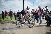 Fabian Cancellara (SUI/Trek-Segafredo) coming out of sector 11: Auchy-lez-Orchies to Bers&eacute;e (2.7km)<br /> <br /> 114th Paris-Roubaix 2016