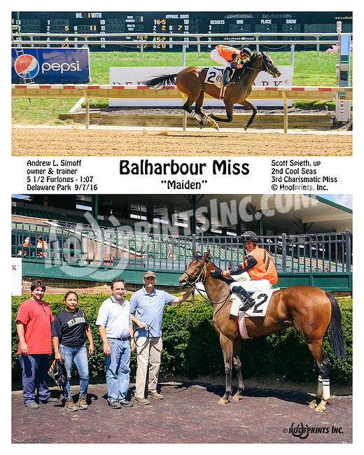 Balharbour Miss winning at Delaware Park on 9/7/16