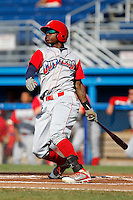 Williamsport Crosscutters outfielder Kyrell Hudson #13 during the first game of a doubleheader against the Batavia Muckdogs at Dwyer Stadium on August 23, 2011 in Batavia, New York.  Batavia defeated Williamsport 2-1.  (Mike Janes/Four Seam Images)
