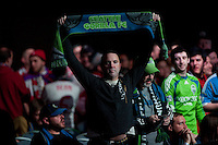 Seattle Sounders fans cheer on their team during the MLS SuperDraft at the Pennsylvania Convention Center in Philadelphia, PA, on January 16, 2014.