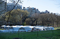 New York, New York City. The relief organization Samaritan's Purse has set up a tented field hospital in Central Park, in front of Mt. Sinai Hospital, to provide respiratory care to coronavirus patients.