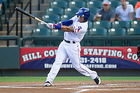 Round Rock Express shortstop Leury Garcia (6) swings the bat against the Iowa Cubs in the Pacific Coast League baseball game on July 21, 2013 at the Dell Diamond in Round Rock, Texas. Round Rock defeated Iowa 3-0. (Andrew Woolley/Four Seam Images)