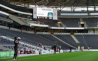 Lincoln City's Timothy Eyoma prepress to take a throw in inside an empty Stadium MK, due to Covid-19 restrictions<br /> <br /> Photographer Chris Vaughan/CameraSport<br /> <br /> The EFL Sky Bet League One - Milton Keynes Dons v Lincoln City - Saturday 19th September 2020 - Stadium MK - Milton Keynes<br /> <br /> World Copyright © 2020 CameraSport. All rights reserved. 43 Linden Ave. Countesthorpe. Leicester. England. LE8 5PG - Tel: +44 (0) 116 277 4147 - admin@camerasport.com - www.camerasport.com