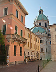 Road leading to the Cathedral, Duomo in Como, Italy