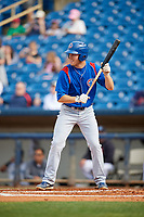 South Bend Cubs right fielder Brandon Hughes (11) squares around to bunt during the first game of a doubleheader against the Lake County Captains on May 16, 2018 at Classic Park in Eastlake, Ohio.  South Bend defeated Lake County 6-4 in twelve innings.  (Mike Janes/Four Seam Images)