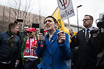 © Joel Goodman - 07973 332324. 24/03/2018. Birmingham, UK. For Britain party leader ANNE-MARIE WATERS speaks at a Football Lads Alliance demonstration against Islam and extremism in Birmingham City Centre . Offshoot group, The True Democratic Football Lads Alliance, also hold a separate demonstration . Photo credit : Joel Goodman