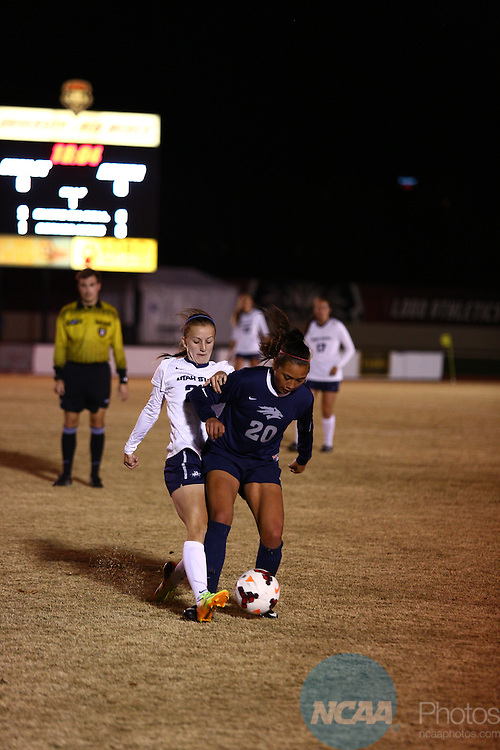 04 NOV 2013: Utah State University takes on Nevada during Game 2 of the Mountain West Conference Women's Soccer Championship held at the UNM Soccer Complex in Albuquerque, NM. Utah State advanced to the second round by way of a 2-0 win. (Juan Labreche/NCAA Photos)