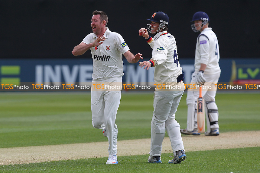 David Masters of Essex (L) celebrates the wicket of Michael Carberry with Ben Foakes - Essex CCC vs Hampshire CCC - LV County Championship Division Two Cricket at the Essex County Ground, Chelmsford - 30/04/13 - MANDATORY CREDIT: Gavin Ellis/TGSPHOTO - Self billing applies where appropriate - 0845 094 6026 - contact@tgsphoto.co.uk - NO UNPAID USE.