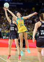 09.10.2016 Silver Ferns Katrina Grant and Australia's Natalie Medhurst in action during the Silver Ferns v Australia netball test match played at Qudos Bank Arena in Sydney. Mandatory Photo Credit ©Michael Bradley.