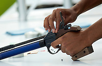 13 AUG 2009 - LONDON, GBR - A competitor prepares to shoot during the Mens World Modern Pentathlon Championship Qualifiers (PHOTO (C) NIGEL FARROW)