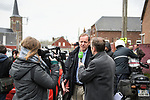 Tour Director Christian Prudhomme ASO talks to the media during the reconaissance of the pave sectors before the 2018 Paris-Roubaix. 3rd April 2018.<br /> Picture: ASO/P.Ballet | Cyclefile<br /> <br /> <br /> All photos usage must carry mandatory copyright credit (&copy; Cyclefile | ASO/Pauline Ballet)