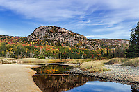 Beehive mountain and salt pond at Sand Beach, Acadia NP, Maine, ME, USA