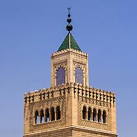 Tunis, Tunisia.  Minaret of the Zeitouna Mosque.