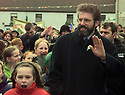 Sinn Fein President Gerry Adams walks though the village of Carrickmore, County Tyrone, Northern Ireland, Sunday April 12, 1998, during a commemoration march for the anniversary of the 1916 Easter uprising. Hundreds of Republicans mark the anniversary by a series of marches all over northern Ireland (AP Photo/Paul McErlane)