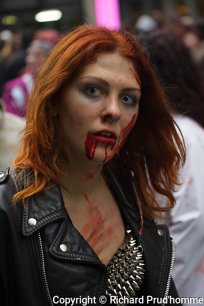 A female zombie participating in the Montreal Zombie Walk