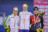 SCHAATSEN: CALGARY: Olympic Oval, 09-11-2013, Essent ISU World Cup, podium 1500m, Ireen Wüst (NED), Lotte van Beek (NED), Martina Sáblíková (CZE), ©foto Martin de Jong