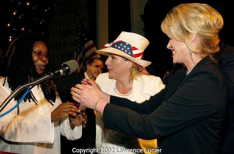 Comedienne Whoopi Goldberg presents a Special Human Rights Award to Jennifer Saunders and Joanna Lumley at the Absolutely Fabulous 2002 Lesbian, Gay, Bisexual, and Transgender Pride Awards Ceremony June 27, 2002, at City Hall in New York City.  The awards were presented by New York Senate Democratic Leader Martin Connor and the New York Democratic Conference.