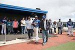 Wildcats' Cody Kerns takes the field with his parents during Sophomore Day ceremonies at Western Nevada College in Carson City, Nev., on Saturday, April 25, 2015. <br /> Photo by Cathleen Allison