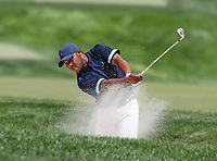 Potomac, MD - June 30, 2018:  Harold Varner III (USA) hits a shot from the bunker during Round 3 at the Quicken Loans National Tournament at TPC Potomac in Potomac, MD, June 30, 2018.  (Photo by Elliott Brown/Media Images International)
