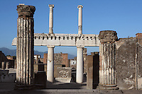Colonnade around the Forum,  Pompeii, 2nd century BC, of two-storey porticoes with Doric columns