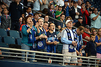 Kansas City, Kansas - Saturday April 16, 2016: FC Kansas City fans cheer at the start of the game between FC Kansas City and Western New York Flash at Children's Mercy Park. Western New York won 1-0.