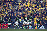 06 December 2015: Portland's Diego Valeri (ARG) (center) raises his hands as he celebrates scoring a goal in the first minute with his teammates. The Columbus Crew SC hosted the Portland Timbers FC at Mapfre Stadium in Columbus, Ohio in MLS Cup 2015, Major League Soccer's championship game. Portland won the game 2-1.
