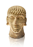 First half of the 6th century B.C Etruscan clay head of a young man made in Chiusi, inv 94612, National Archaeological Museum Florence, Italy , white background