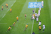 Chris Robshaw of England attempts to charge down the clearance kick of Will Genia of Australia during the QBE Autumn International match for the Cook Cup between England and Australia at Twickenham on Saturday 2nd November 2013 (Photo by Rob Munro)