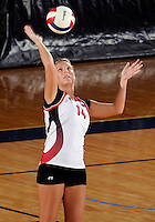 WKU setter Melanie Stutsman (14) plays against Florida International in the semi-finals of the Sunbelt Conference Volleyball Tournament.  Western Kentucky won the match 3-0 on November 18, 2011 at Miami, Florida. .