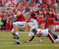 10/31/15<br /> Arkansas Democrat-Gazette/STEPHEN B. THORNTON<br /> Arkansas' Hunter Henry pulls in a pass on 4th and 12 from Ut Martin's 30 for a first down in the second quarter during their game Saturday in Fayetteville.