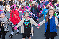 "Children from McManus Irish Dance march in the Sunnyside, Queens St. Patrick's Parade on March 5, 2017. Billed as ""St. Pat's For All"" the festive event started as an alternative to the New York parade, and organizers have endeavored to make the parade inclusive allowing gays and lesbians to march who were banned from the New York parade. (© Richard B. Levine)"