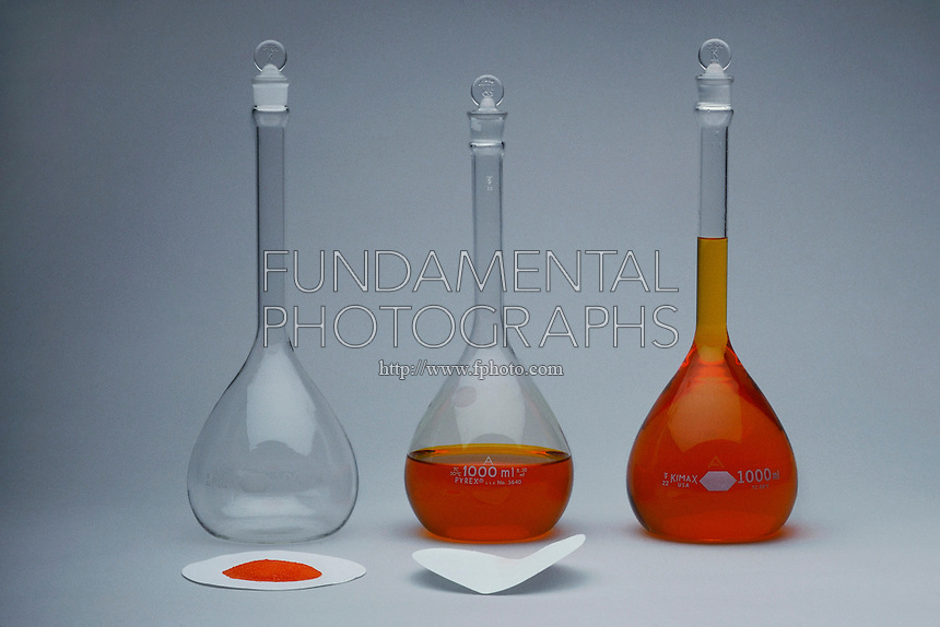 PREPARING 0.1M SOLUTION OF POTASSIUM DICHROMATE<br /> 3 Steps of Dissolution of Solid Compound in Water<br /> From left to right: 0.1M K2CrO7 is measured into filter paper and added to a 1000 ml volumetric flask filled with water. More water is added to bring level of solution to calibration mark on the neck of flask.
