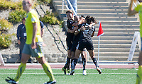 Christine Sinclair (left), Marta (center) and Ali Riley (right) celebrate Sinclair's goal FC Gold Pride defeated the Philadelphia Independence 4-0 to win the 2010 WPS Championship at Pioneer Stadium in Hayward, California on September 26th, 2010.