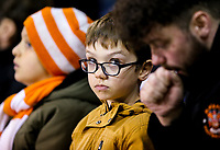 A young Blackpool fan watches on during the first half<br /> <br /> Photographer Alex Dodd/CameraSport<br /> <br /> The EFL Checkatrade Trophy Northern Group C - Blackpool v West Bromwich Albion U21 - Tuesday 9th October 2018 - Bloomfield Road - Blackpool<br />  <br /> World Copyright &copy; 2018 CameraSport. All rights reserved. 43 Linden Ave. Countesthorpe. Leicester. England. LE8 5PG - Tel: +44 (0) 116 277 4147 - admin@camerasport.com - www.camerasport.com