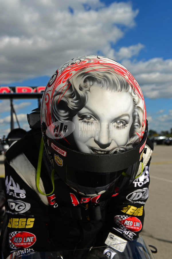 Sept 8, 2012; Clermont, IN, USA: Detailed view of the helmet of NHRA top fuel dragster driver Steve Torrence during qualifying for the US Nationals at Lucas Oil Raceway. Mandatory Credit: Mark J. Rebilas-