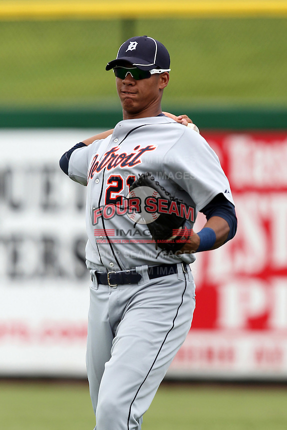 Detroit Tigers outfielder Steven Moya #21 during an Instructional League game against the Philadelphia Phillies at Bright House Networks Field on October 10, 2011 in Clearwater, Florida.  (Mike Janes/Four Seam Images)