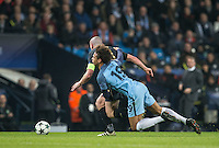 Leroy Sane of Manchester City hangs off of Scott Brown of Celtic during the UEFA Champions League GROUP match between Manchester City and Celtic at the Etihad Stadium, Manchester, England on 6 December 2016. Photo by Andy Rowland.