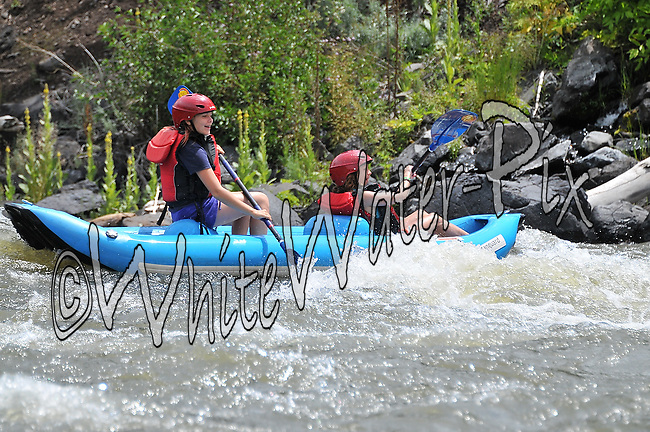 Beaver Creek Kids Day Camp crashing Cable Rapid while floating the Upper Colorado River from Rancho to State Bridge, August 1, 2013, Afternoon Trip, PM, Bond, Colorado - WhiteWater-Pix | River Adventure Photography - by MADOGRAPHER Doug Mayhew