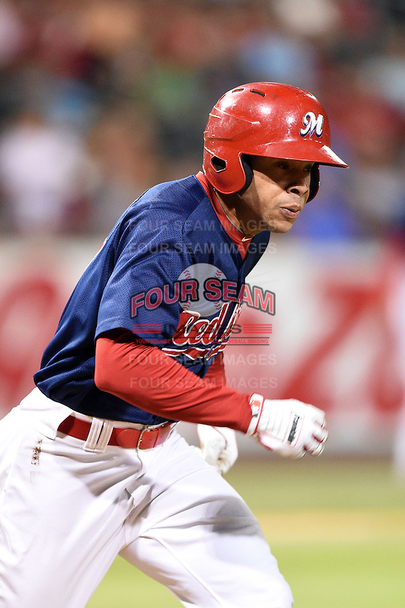 Memphis Redbirds outfielder Thomas Pham (27) runs to first during a game against the Oklahoma City RedHawks on May 23, 2014 at AutoZone Park in Memphis, Tennessee.  Oklahoma City defeated Memphis 12-10.  (Mike Janes/Four Seam Images)