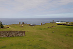 Chile, Easter Island: Wide angle view of historic village called Ahu Tahai, near Hanga Roa..Photo #: ch230-33587..Photo copyright Lee Foster www.fostertravel.com lee@fostertravel.com 510-549-2202