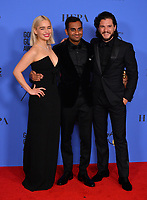 Emilia Clarke, Aziz Ansari & Kit Harington at the 75th Annual Golden Globe Awards at the Beverly Hilton Hotel, Beverly Hills, USA 07 Jan. 2018<br /> Picture: Paul Smith/Featureflash/SilverHub 0208 004 5359 sales@silverhubmedia.com