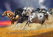 Interlitho, Lorenzo, REALISTIC ANIMALS, paintings, 6 wild horses, KL4391,#a# realistische Tiere, realista, illustrations, pinturas ,puzzles