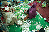 Amritsar, Punjab, India.  The Golden Temple - Harmandir Sahib; three women sit in the Langar kitchen preparing food, shelling peas, peeling garlic.