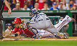 22 August 2015: Washington Nationals outfielder Jayson Werth dives home but is tagged out by Milwaukee Brewers catcher Jonathan Lucroy during the 4th inning at Nationals Park in Washington, DC. The Nationals defeated the Brewers 6-1 in the second game of their 3-game weekend series. Mandatory Credit: Ed Wolfstein Photo *** RAW (NEF) Image File Available ***