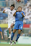 07 August 2008: Sacha Kljestan (USA) (16) and Hiroki Mizumoto (JPN) (4) challenge for a header.  The men's Olympic team of the United States defeated the men's Olympic soccer team of Japan 1-0 at Tianjin Olympic Center Stadium in Tianjin, China in a Group B round-robin match in the Men's Olympic Football competition.
