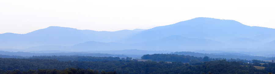 Mountain range at sunset near the Blue Ridge Mountains.